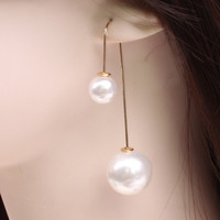 European Style U Gold Plated Pearl Drop Dangle Long Chain Threader Earrings Silver Plated Jewelry Free shipping