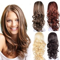 """23"""" Curly 3/4 Ladies Half Wig Kanekalon Hair Synthetic Wigs with Comb on a Mesh Head Cap"""
