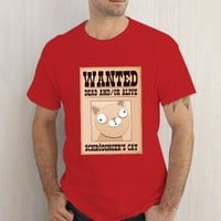 Schrodingers Cat Wanted Dead And Or Alive Red Tshirt
