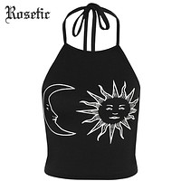 Rosetic Gothic Tank Tops Halter Sun Crescent Moon Print Black Slim Backless Tops Fashion Beach White Short Goth Tank Tops