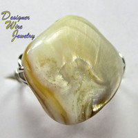 DWJ0190 Stunning Beige Cream Abalone Silver Wire Wrap Ring All Sizes