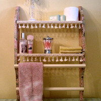 Shabby Chic wood double shelf with double hangers by GraceandLilys