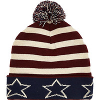River Island MensDark red stars and stripes beanie hat