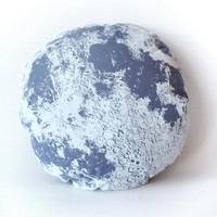 Slate Grey Moon Pillow, 22 inch round gray luna, hand printed and sewn, washable and removable cover, perfect for kids and adults, handmade
