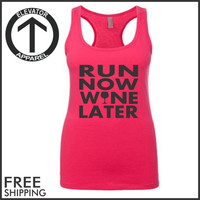 Run Now Wine Later. Racerback Jersey. Womens Clothing. Exercise. Motivation. Fitted. Health And Wellness. Workout Tanks. Fitness Tanks. Gym.