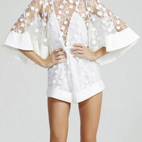 White Applique Cut Out Back Romper