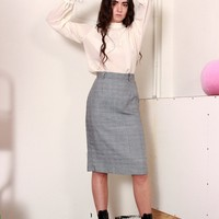 Houndstooth Plaid Pencil Skirt / XS