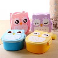 1000ml Food Grade Plastic Lunch Box Cute Cartoon Owl Food Fruit Storage Container Portable Bento Box For Children Gifts82621