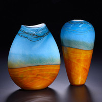 Landscape Pouch and Vase Art Glass Vase by John  Heather  Fields: Art Glass Vase - Artful Home