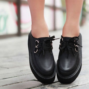 Casual Women Lady Lace Up High Platform Flats Goth Punk Creeper Shoes US Size5-8