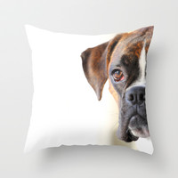 Boxer dog Throw Pillow by Jana Behr