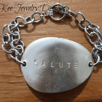 Sterling silver spoon and silver chain bracelet. Jewelry, Jewellery.