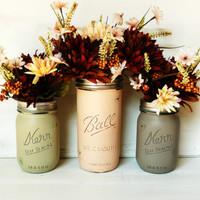 Soft Autumn - Home and Wedding Decor - Painted and Distressed Shabby Chic Mason Jars - Vase