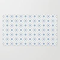 Acrylic Blue Square Dots Rug by Doucette Designs