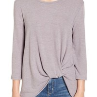 June & Hudson Knot Front Sweater Knit Tee   Nordstrom