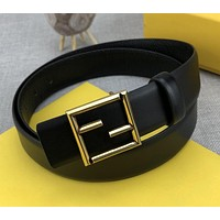 Fendi new gold FF letter buckle simple business belt