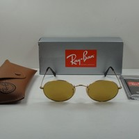 RAY-BAN OVAL FLAT SUNGLASSES RB3547N 001/93 GOLD/YELLOW FLASH LENS 51MM
