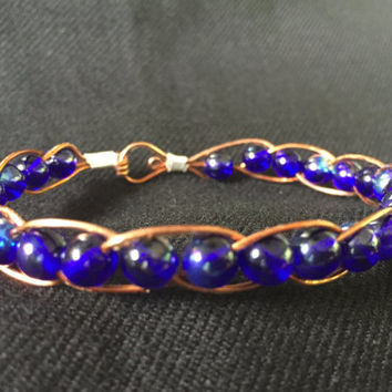 Copper Wire Wrapped Indigo Blue Glass Bead Bracelet Bangle