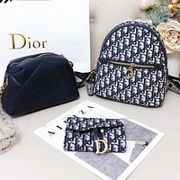 Bunchsun Dior Women Backpack Bag Wallet Handbag Three Piece Suit Black White Bag