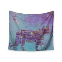 """Marianna Tankelevich """"Panther at Night"""" Purple Blue Wall Tapestry"""