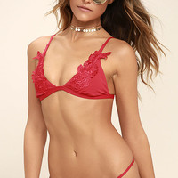 Mink Pink Forbidden Fruit Red Lace Bikini Top