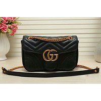 Gucci classic chain bag texture embossed gold GG logo fashion ladies shoulder messenger bag