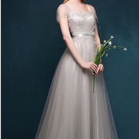 Draped Tulle Gown