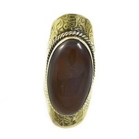VINTAGE Embossed AGATE and Brass KNUCKLE Ring