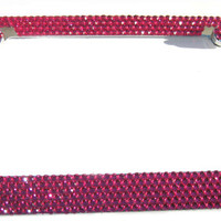Bling 6 Rows HOT PINK Full Crystal covered Rhinestone Metal License Plate Frame and 2 Caps