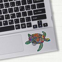 Small Sea Turtle Laptop Decal Colorful Design Bumper Sticker Car Decal Pink Green Teal Yellow Beach Flowers Cute Decal Hippie Boho Tribal
