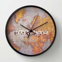 wanderlust map Wall Clock by Sylvia Cook Photography