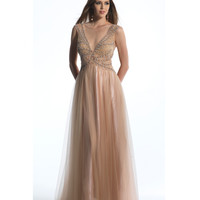 Dave & Johnny 662 Nude Beaded Chiffon Deep V-Neck Gown 2015 Prom Dresses