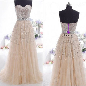 2015 New Elegant Party Dresses Sexy Strapless Champangne Sequined Formal Gowns Floor-length Chiffon Evening Woman Dress = 1931831300