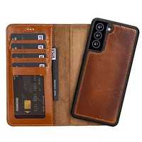 Samsung Galaxy S21 Detachable Handcrafted Leather Wallet Case with RFID