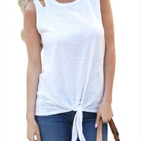 Fashion Round Neck Solid Color Sleeveless Vest