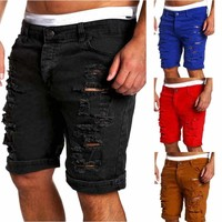 Men's Skinny Runway Straight Short Denim Pants Destroyed Ripped Jeans Shorts US
