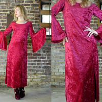 Vintage 80's Red Velvet Bohemian Belled Sleeve Gothic Maxi Dress