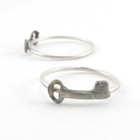 Small Skeleton Key Stacker or Knuckle Ring