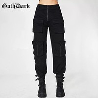 Goth Dark Black Pleated Grunge Gothic Pants For Women Harajuku Punk Patchwork Zipper Pockets Autumn 2019 Fashion Female Trousers