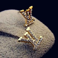 LV Louis Vuitton Women Fashion Diamonds Stud Earring Jewelry