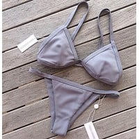 HOT GREY PURE COLOR TWO PIECE BIKINIS