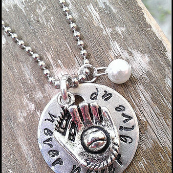 """Hand Stamped """"Never, Never Give Up"""" Baseball or Softball Charm Necklace with pearl bead"""