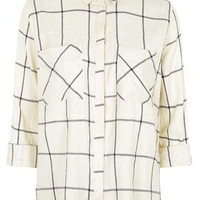 TALL Large Scale Checked Shirt - Monochrome