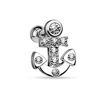 BodyJ4You Cartilage Tragus Earring 16 Gauge Crystal Anchor Piercing Jewelry