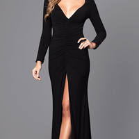 V-Neck Long-Sleeve Prom Dress with Lace Back