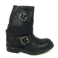 Jeffrey Campbell – Edgy Brit Slouchy Ankle Boot In Black Distressed Leather|Thirteen Vintage