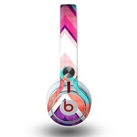 The Vibrant Teal & Colored Chevron Pattern V1 Skin for the Beats by Dre Mixr Headphones (DECAL ONLY)
