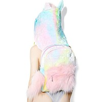 Unicorn Furry Hooded Backpack