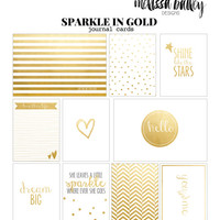 Sparkle In Gold- 3x4 & 4x6 Project Life Inspired digital printable scrapbooking journaling and filler cards- instant download