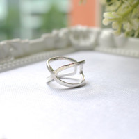 Sterling Silver X Ring, X Cross Ring, X-Ring, Cross Ring, Silver Cross ring, Silver X ring, Stackable ring, X Knuckle Ring, Criss cross ring